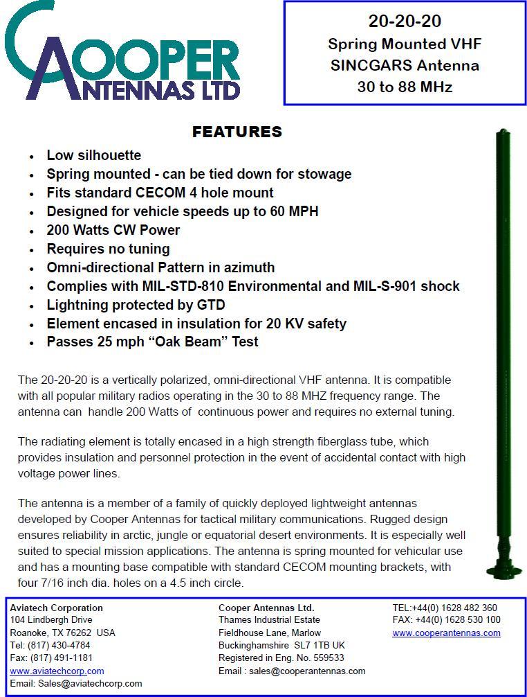 20-20-20 Sincgar Antenna - HMMWV In Scale
